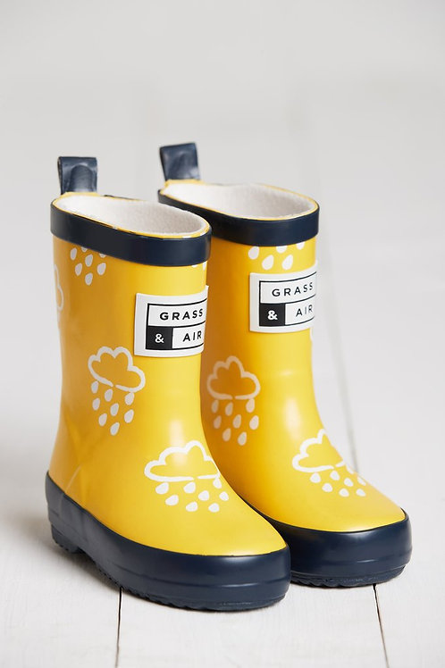Yellow Colour Changing Raindrop Wellies by Grass & Air