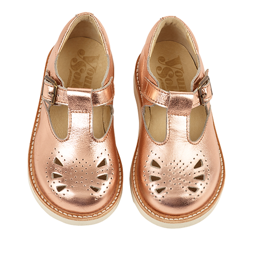 Young Soles Rosie T-Bar - Rose Gold