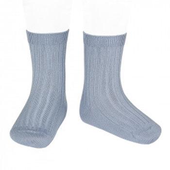 Condor Kids Ribbed Ankle Socks Steel Blue
