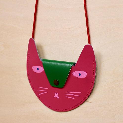 Leather Cat Purse in Pink kids bag Ark Colour Design