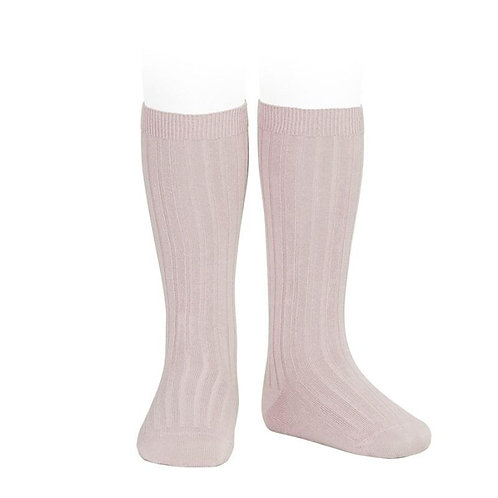 Condor Ribbed Knee High Socks Old Rose pink