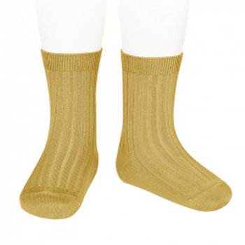 Condor Kids Ribbed Ankle Socks - Mustard