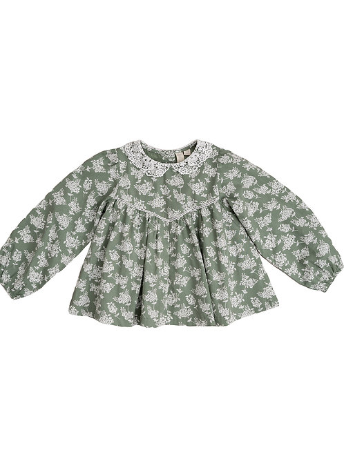 Marcie Blouse Green Floral with lace collar Little Cotton Clothes