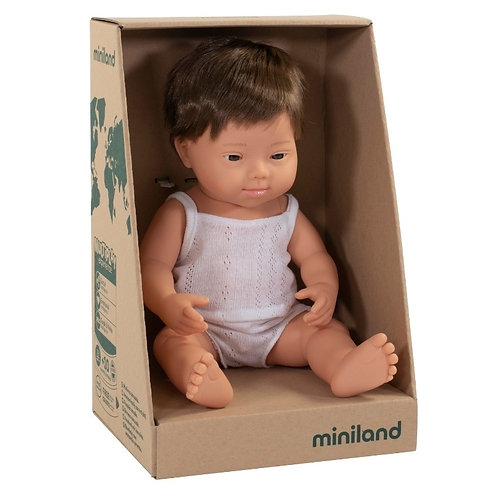 Miniland 38cm Toddler Doll - Boy with Down Syndrome