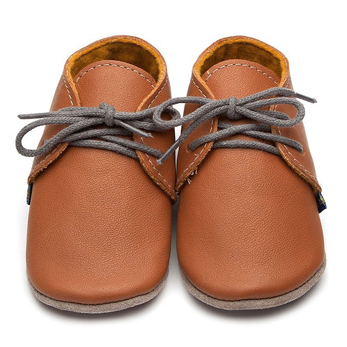 Derby Soft Sole Baby Shoes by Inch Blue - Caramel