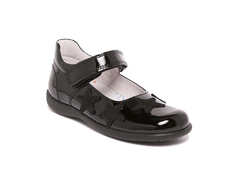 Bo-Bell Black Patent Stars School Shoes
