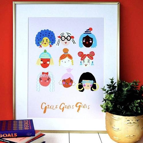 Girls Girls Girls A4 Print - Eleanor Bowmer