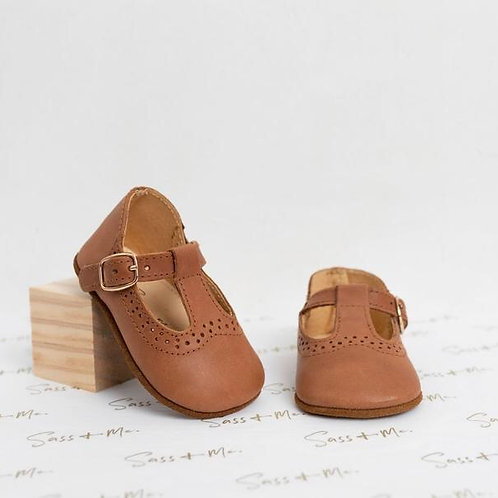 Baby Soft Sole Prewalker T-Bars Tan Leather Sass and Me