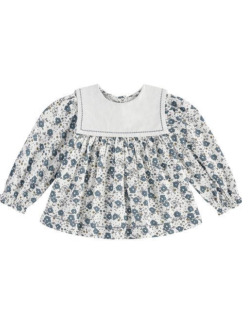 Eadie Sailor Collar Blouse, Blue Floral - Little Cotton Clothes