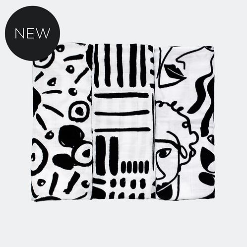 Etta Loves 3 Pack Sensory Muslins Drawing Print