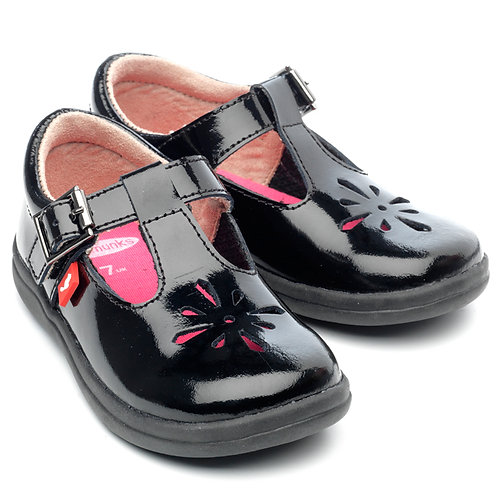 Chipmunks black patent leather tbar school shoes