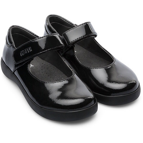 Camper Girls Black Patent Leather School Shoes