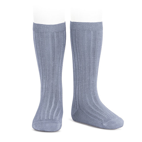 Condor Ribbed Knee High Socks Steel Blue