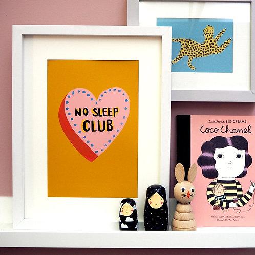 No Sleep Club A3 Print Mustard - Eleanor Bowmer