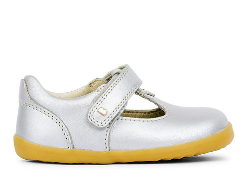 Bobux Step Up Louise T-Bar Silver shoes