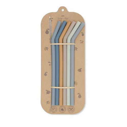 Konges Sløjd Silicone Straws - Blue Assortment