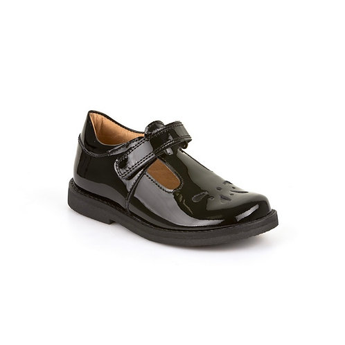 Froddo Patent Black T Bar School Shoes