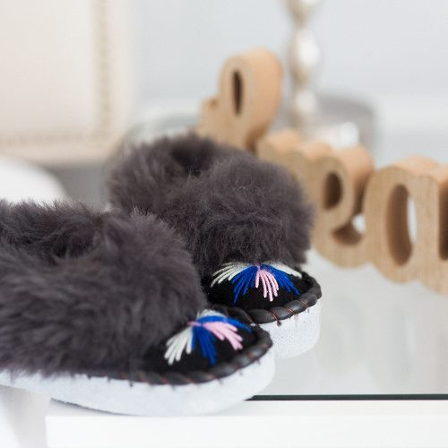 48d2368a75a Sheepers Children s Embroidered Sheepskin Slippers - Dark Grey