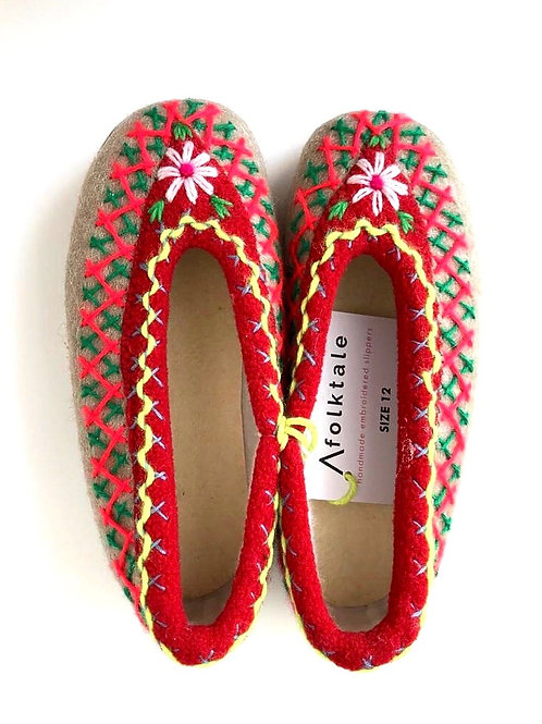 Kids Handmade Embroidered Slippers - AFolktale