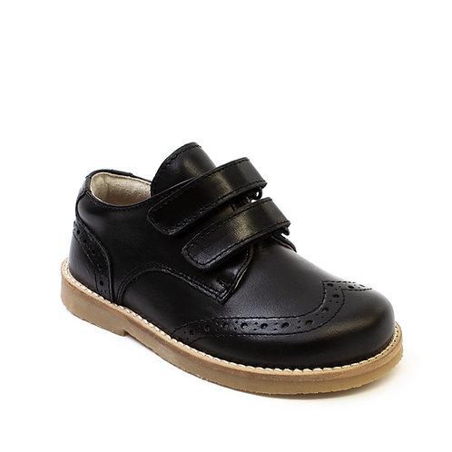 Black Leather Unisex Brogue Detail Shoes Petasil