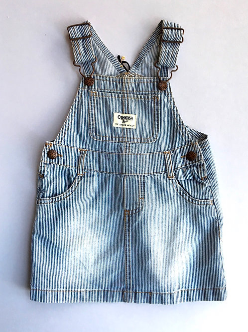 Vintage Original Osh Kosh Hickory Stripe Pinafore  denim Dress Age 2