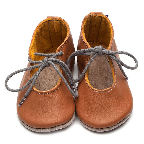 Mabel Soft Sole Baby Shoes by Inch Blue Caramel boots