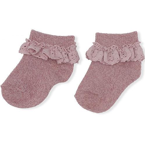 Konges Sløjd Lace/Lurex Socks Rose Blush pink frill frilly