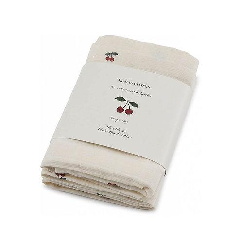 Konges Slojd 3 Pack Muslin cloths cherries