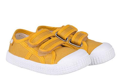 Igor Berri Velcro Canvas Shoe Mustard yellow trainers