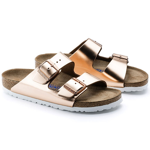 Birkenstock Womens Arizona Birko-Flor - Metallic Copper