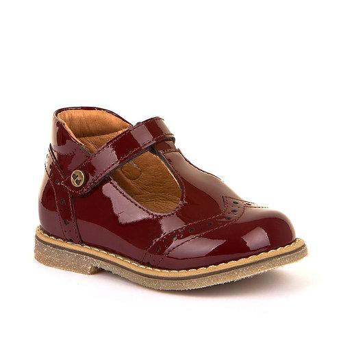 Froddo Patent T-Bar Shoes Patent Bordeaux Leather