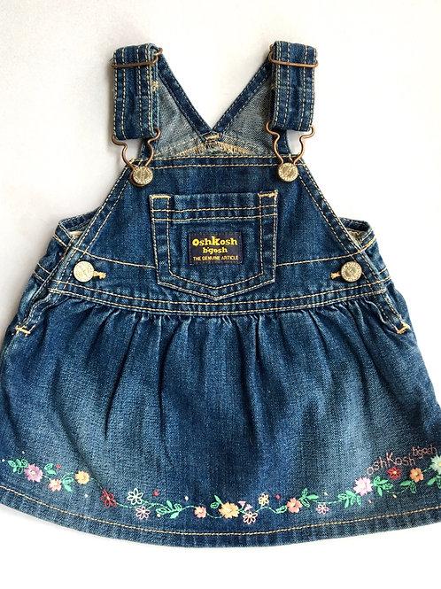 Vintage Original Osh Kosh Denim Floral Dungaree Dress - 6 Months
