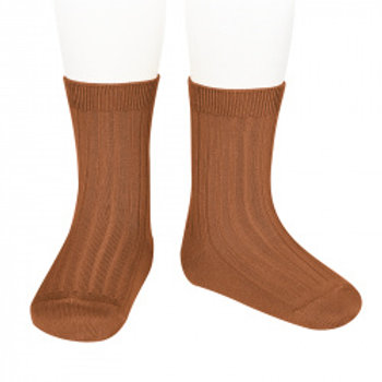 Condor Kids Ribbed Ankle Socks Rust