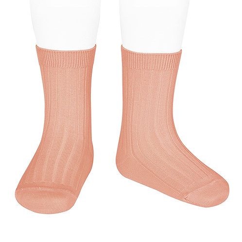 Condor Kids Ribbed Ankle Socks Peony pink