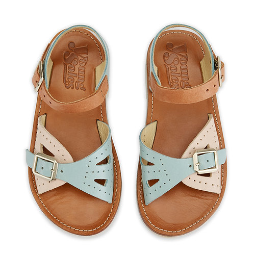 Young Soles Pearl Sandals - Multi Block Pale Leather
