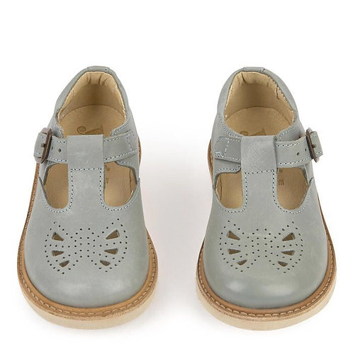 Young Soles Rosie T- Bar in Smokey Sage grey shoes