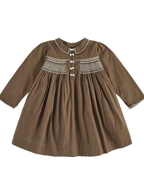 Ava Hand Smocked Dress in Nut - Little Cotton Clothes brown