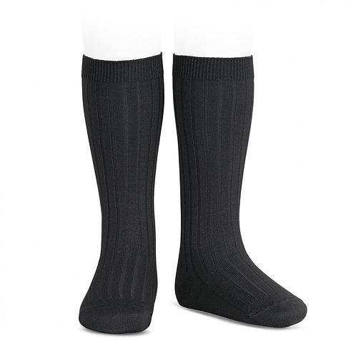 Condor Ribbed Knee High Socks Black