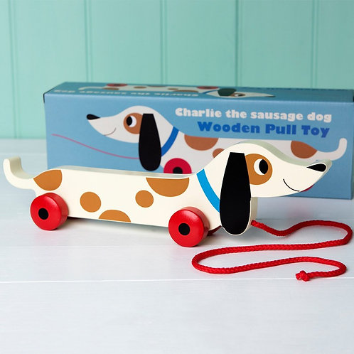 Charlie the Sausage Dog Wooden Pull Along toy