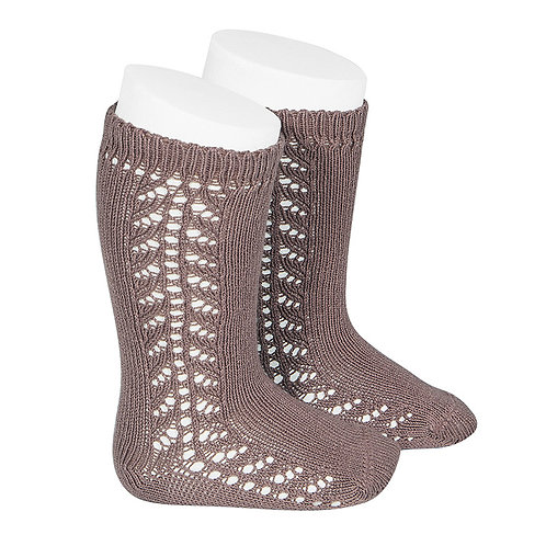 Condor Baby Side Openwork Knee High Socks Praline brown