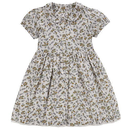 Audrey Dress Yellow Meadow Floral by Little Cotton Clothes