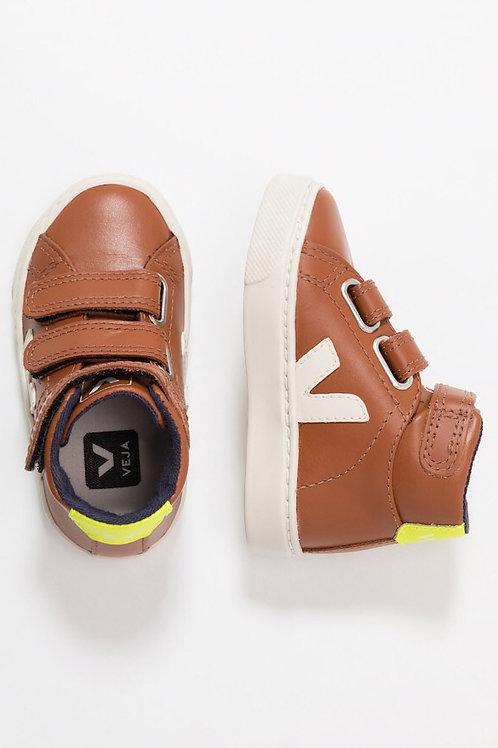 Veja Kids Mid Velcro Leather Tuile Pierre Jaune fluo shoes boots