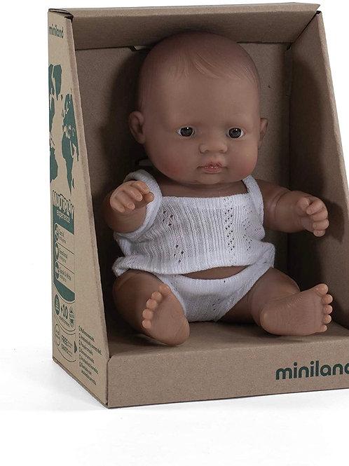 Miniland Hispanic Baby Girl Doll, 21cm