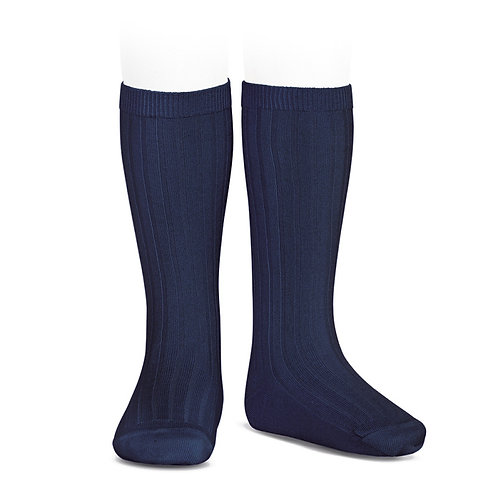 Condor Ribbed Knee High Socks Navy