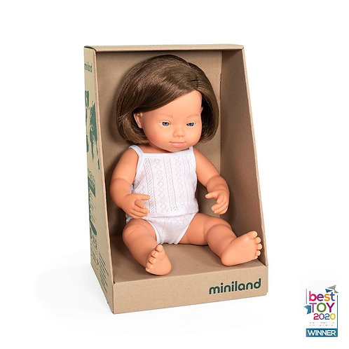 Miniland 38cm Toddler Doll - Girl with Down Syndrome