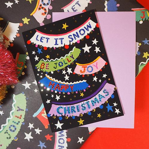 'Christmas Garlands' Greeting Card - Eleanor Bowmer