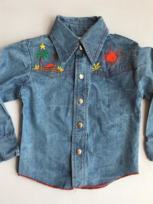 Vintage Embroidered Denim Shirt - Age 4-6