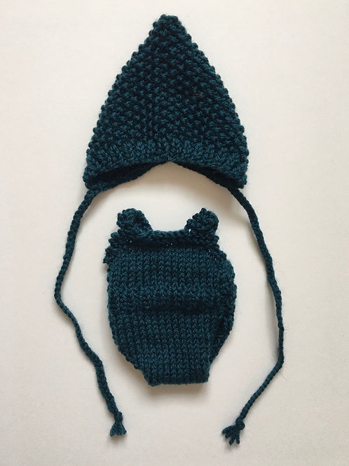 Hand Knitted Dolly Set - Dark Teal (for 32cm Dolly)