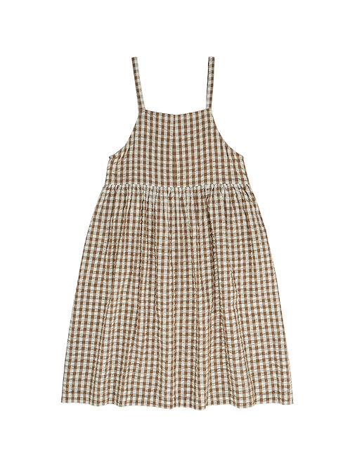 Women's Talia Pinafore Nut Gingham Little Cotton Clothes