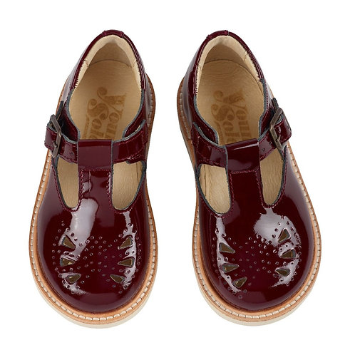 Young Soles Rosie T-Bar Cherry Patent
